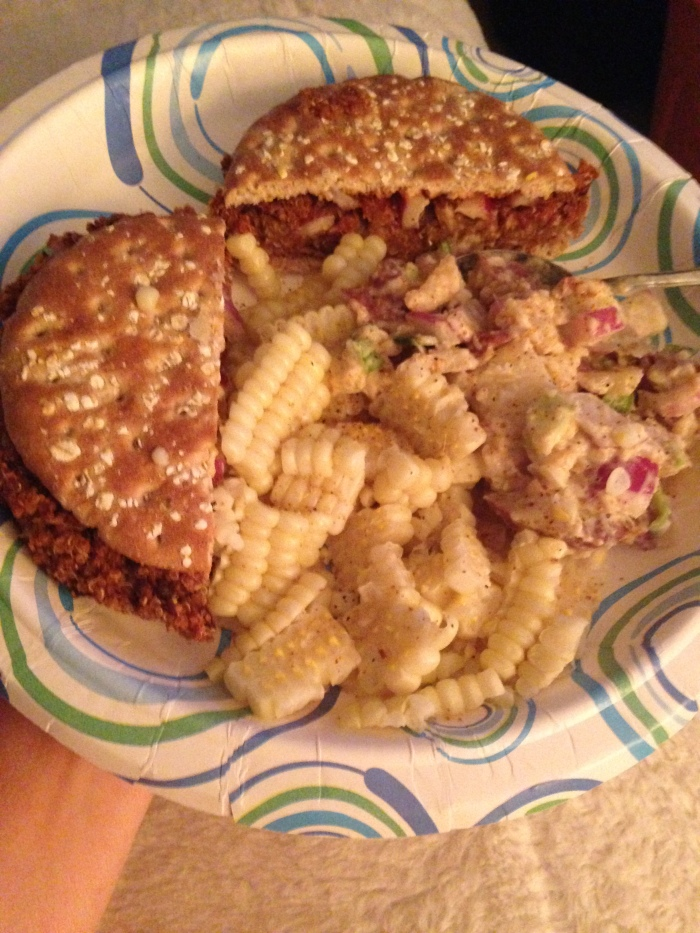 BBQ Black bean and Quinoa burger with Vegan Potato salad and fresh corn, cut off the cob.