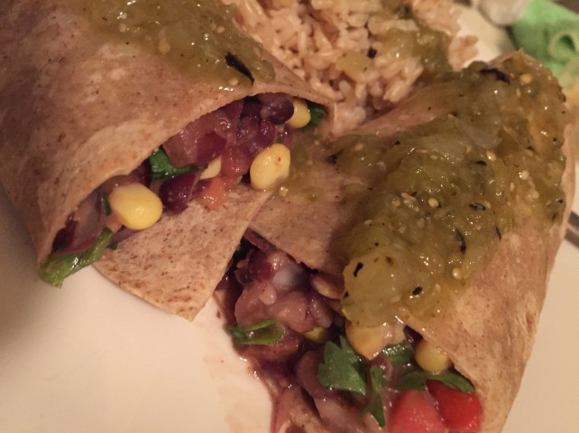 Hubby's plate - wrapped in a whole wheat burrito.