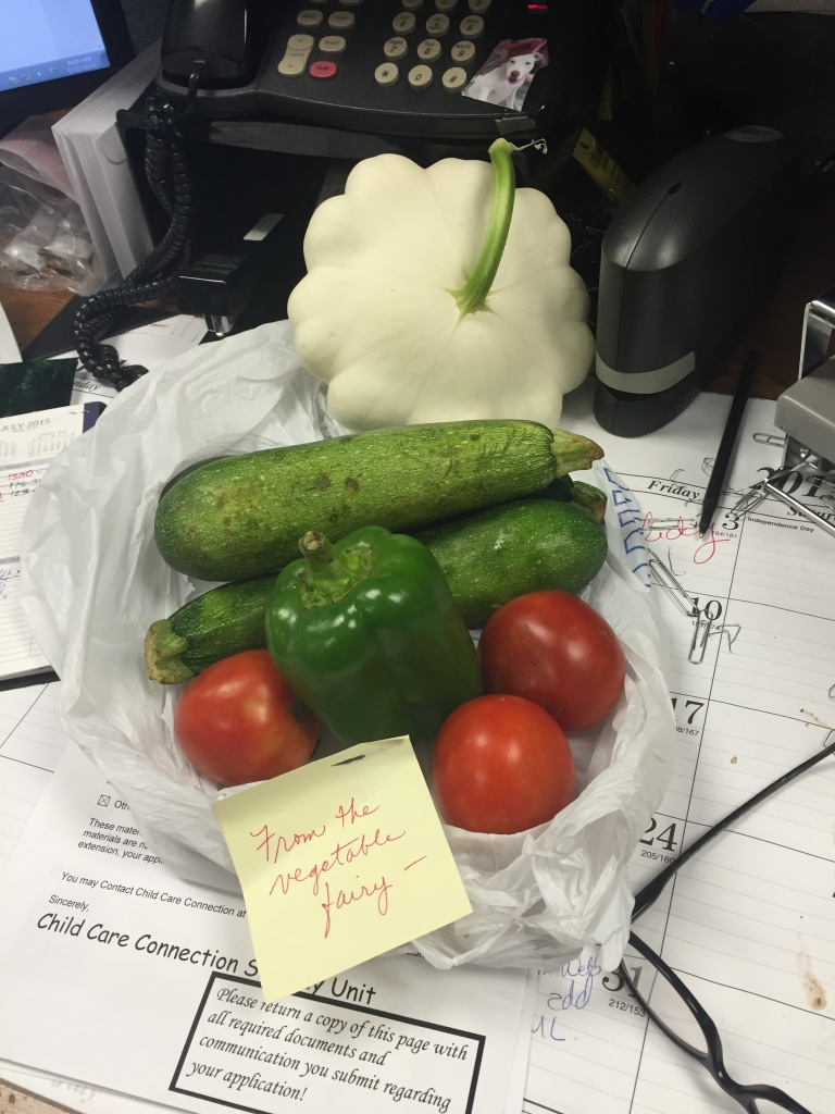 The vegetable fairies visit me at work often this time of year! And thanks to them I was able to create the following meals :)