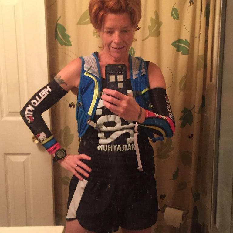 Here's the outfit I wore, except I ended up swapping the shorts for one of my #skirtsports. I wore #Injini socks under a pair of Experias, and my New Balance Vazee Pace shoes.